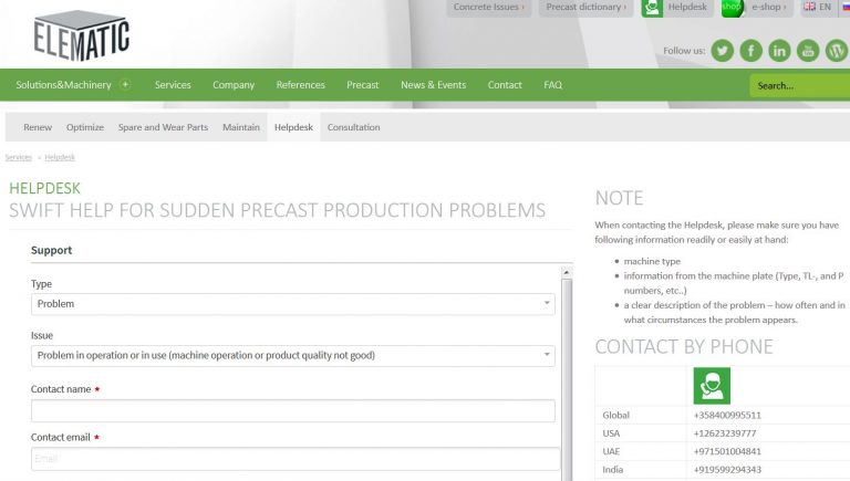 Elematic HelpDesk support request for precast production problems.