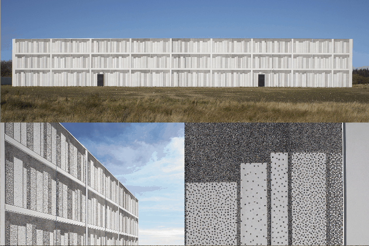 Viborg Landsarkiv in Viborg, Denmark tricks the viewer with its 3-D look. Design Shmidt Hammer Lassen Architects, pattern by Grethe Sørensen. Precast by Confac A/S.