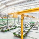 Circulating precast wall panel production line in operation