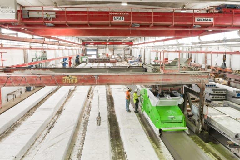 Hollowcore slab production line and Elematic Extruder E9, Parma, Nurmijärvi factory, Finland