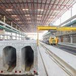 Hollowcore slab production, United Precast Concrete Dubai, UAE