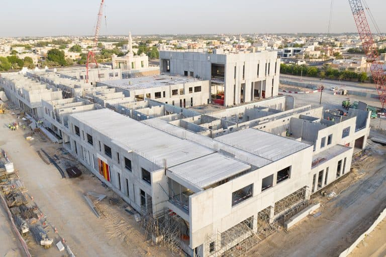A school building under construction in Dubai. Hollow core slab floors.
