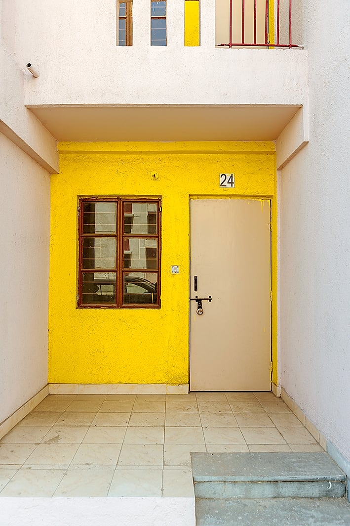 A door of an affordable housing