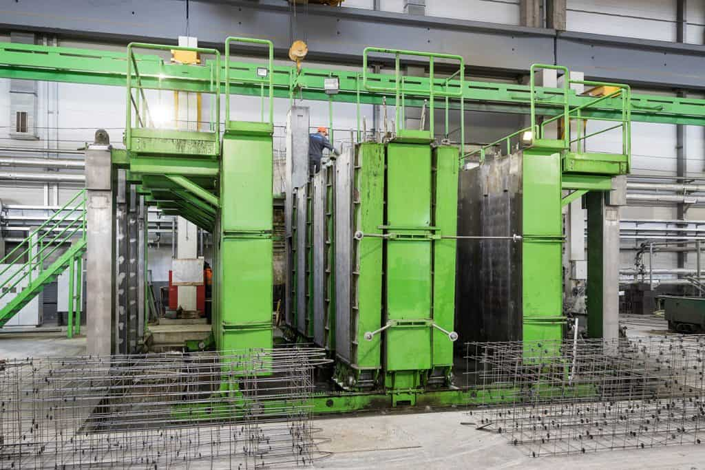 Casting station for ventilation ducts in use at Karkas Monolit,Russia