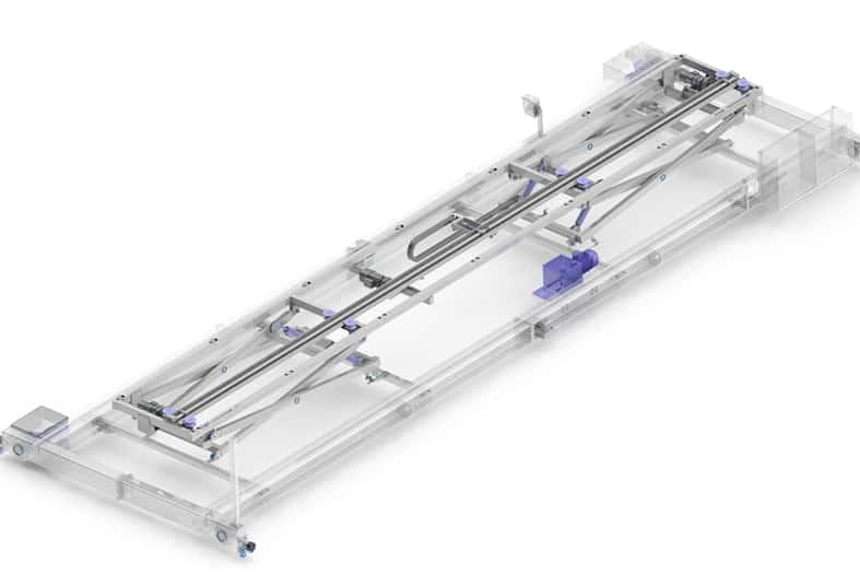 Elematic pallet transfer module for half-slab long line