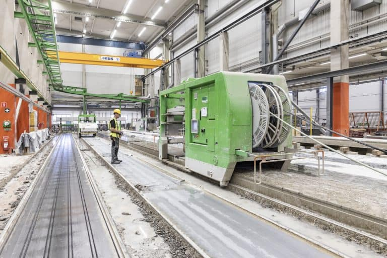 Hollow core production, Skandinaviska Byggelement, Hallstahammar, Sweden