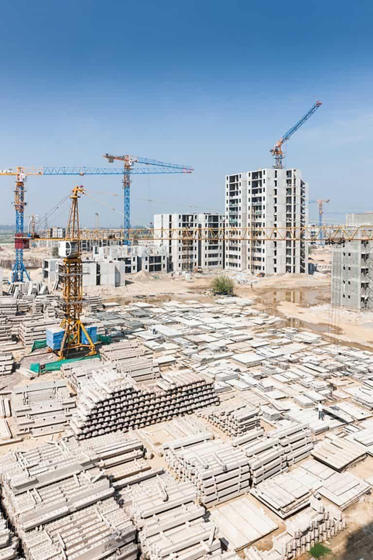 Precast concrete construction site.