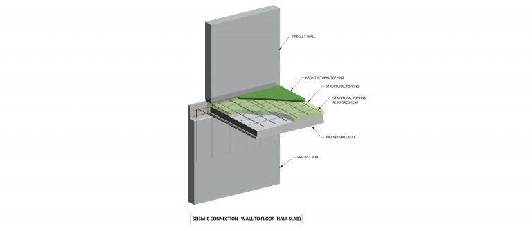 Seismic connection: wall to floor / half slab