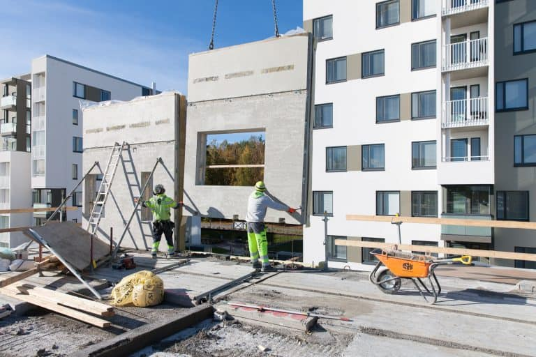 Precast wall panel installation at Vantaan Sokerikoivu building site in Vantaa, Finland.