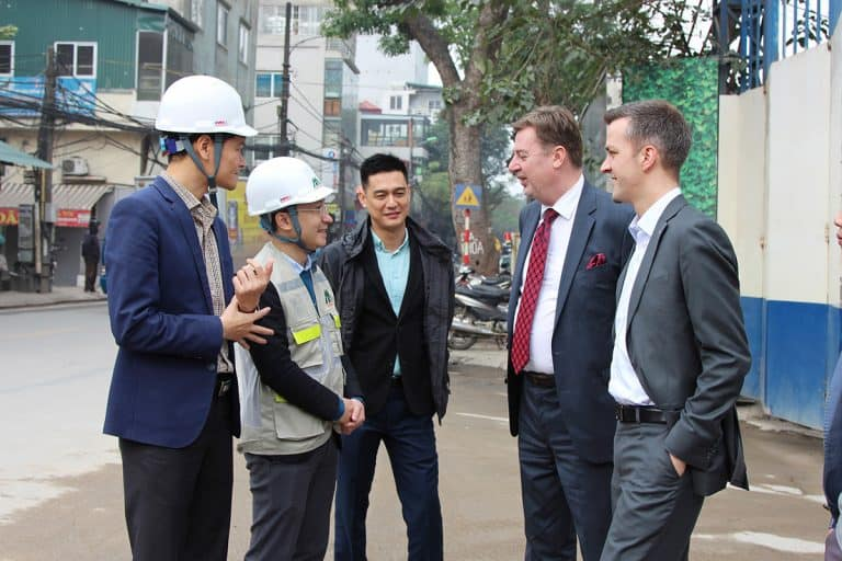 Matthias Jonas, Rieckermann (right) and Ismo Kallio, Elematic visiting Xuan Mai in Vietnam.