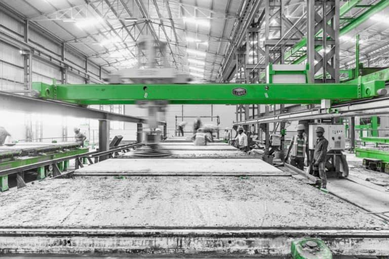 Precast wall production at B. G. Shirke Construction Technology.