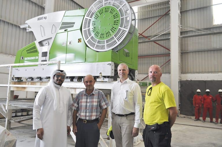 Taking a tour of RedX's factory (pictured from the left): Sheikh Ali Khalifa, Managing Director, RedX Industries; Martyn Pawson, Operations Manager, RedX Industries; Curt Lindroth, Area Director, Elematic; Kari Vainio, Installation Supervisor, Elematic.