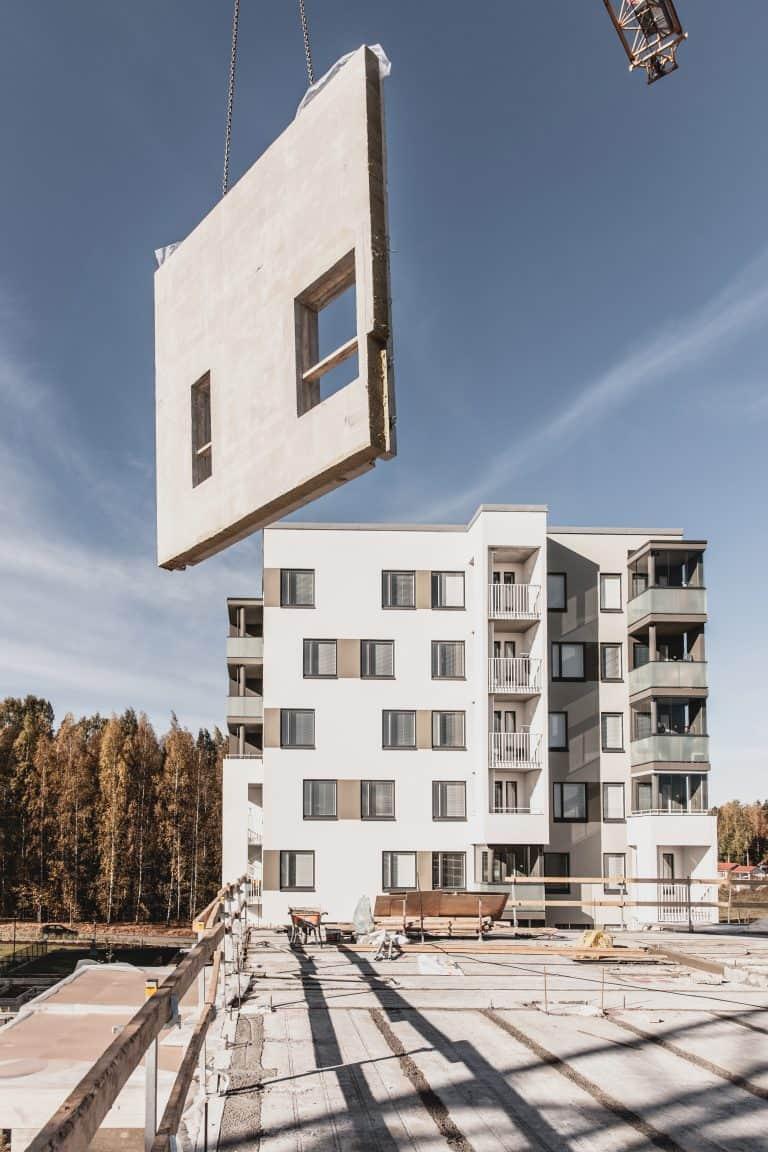 A precast construction site in Finland.