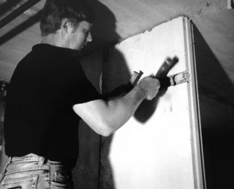 Heikki Mikkola installing Acotec panels in the 90s.